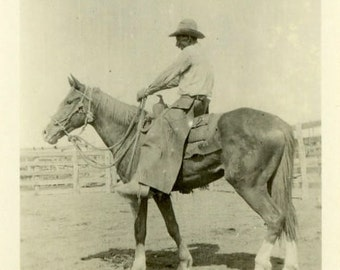 "Vintage Photo ""Cowboy Dan's New Ride"" Farm Horse Snapshot Antique Photo Old Black & White Photograph Found Paper Ephemera Vernacular - 116"