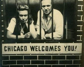 "Vintage Photo ""Chicago Criminals"" Arcade Sign Jail Snapshot Photo Old Antique Black & White Photograph Found Paper Ephemera Vernacular - 80"