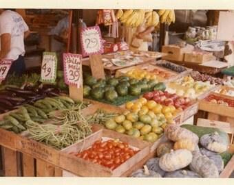 "Vintage Color Photo ""Farmers Market"" Vegetable Food Store Snapshot Old Photo Photograph Found Photography Paper Ephemera Vernacular - 46"