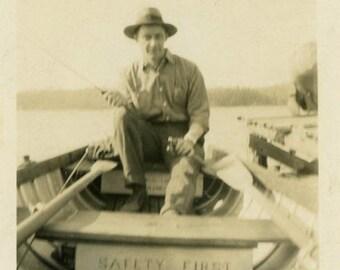 "Vintage Photo ""The Safest Fisherman in Michigan"" Snapshot Antique Photo Black & White Photograph Found Paper Ephemera Vernacular - 102"