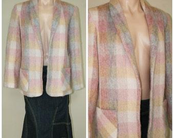 SALE Vintage Fuzzy 100% Wool Plaid Pastel Pink Yellow Open Blazer Jacket size 8 M