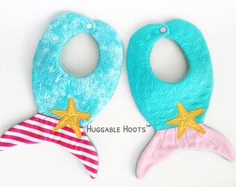 Bibs - Mermaid Bib - Mermaid Tail Bib - Baby Girl Bib - Bandana Bib - Toddler Bib - Dribble Bib - Drool Bib - Bibs - Aqua Bib - Pink Bib