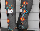 Rez Hoofz Hand Painted Boots size 9 ready  to ship One Of a Kind Only Pair in this Style Boot .. Dont Miss out