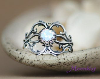 Silver Filigree Bezel Set Opal Vine Ring - Gallery Wire Bezel Statement Ring - Bridal Filigree Tendril and Vine Ring - Choice of Stone