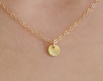 Tiny Disc Necklace Gold coin necklace tiny dainty small gold dot gift for her disk everyday simple delicate charm tiny dot