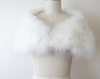 1950s White Marabou Feather Wrap