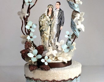 Blue Boho Chic, Vintage Bohemian Wedding Cake Topper