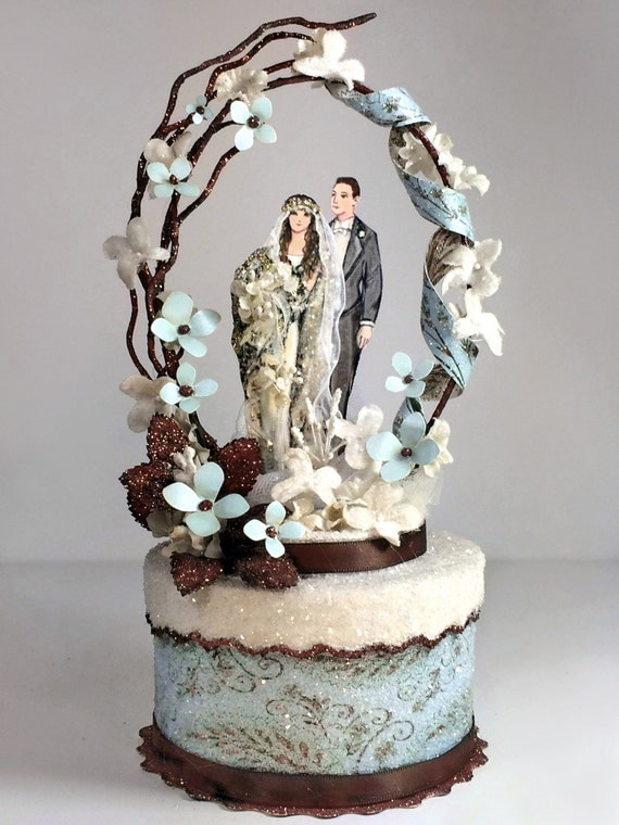 Blue Boho Chic Vintage Bohemian Wedding Cake Topper