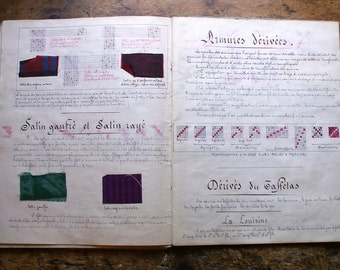 Vintage French Student Fabric Weaving Sample Book - Hand Illustrated with Swatches, from 1928
