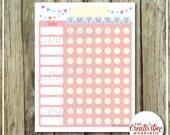 Printable Chore Chart | Children's Chart | Pink | Girl | Editable | Printable Weekly Chart | Responsibililty Chart