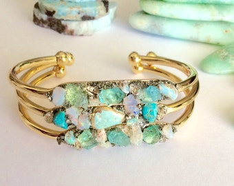 Opal and Blue Apatite Gemstone Bracelet, Bridal Jewelry, Bridesmaid Gift, Boho Jewelry