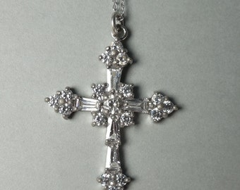 Sterling Silver CZ Cross Pendant   (Item No. 1049)