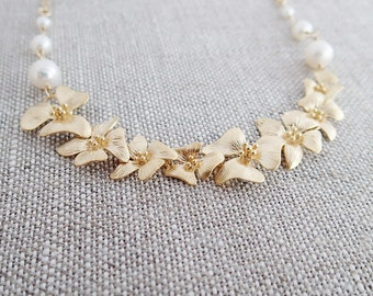 Gold Cherry Blossom Necklace, White Freshwater Pearls, 14K Gold Filled Chain, Cascading Blossom Flower Necklace