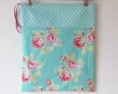 Cottage Chic Floral Aqua Lingerie Bag Cotton Laundry Bag handmade in Germany