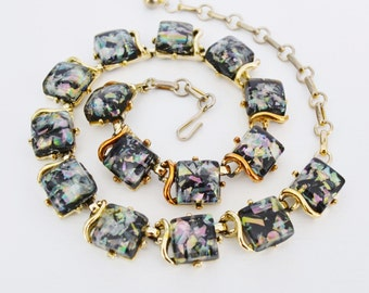 Vintage 1960s Necklace by Coro with Black Lucite and Confetti