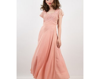 1940s dress / Vintage blush pink bias cut rayon and lace top formal gown M