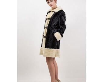 Faux fur coat / Vintage black and white plush princess style coat / 1970s S