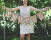 Candy Bar Sweets Lace Paper Banner Vintage Wedding Birthday Bridal Shower Baby Shower Ombre Decorations
