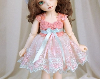 Salmon & light mint dress for TINY bjd LittleFee