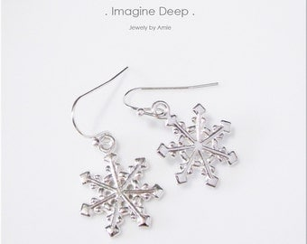 50% off SPECIAL Silver Snowflake Earrings Silver Plated Snowflake Earrings Christmas Winter Holiday Earrings
