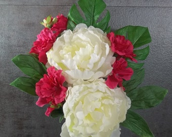 Memorial Flower Arrangement for Cemetery Decoration White Peonies Pink Azaleas Monstera Leaves Memorial Day Grave Decoration Cemetery Flower