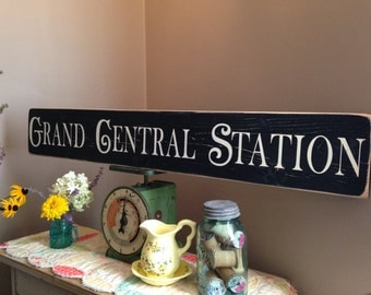 3 FOOT LONG Grand Central Station Large Distressed Wood Sign