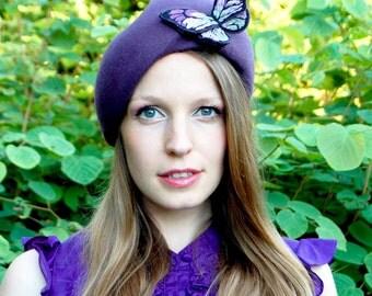 Purple Felt Butterfly Modern Winter Turban Style Pixie Hat