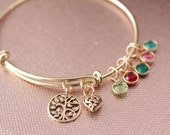 Brass Bangle with Bronze Tree of Life & Heart Pendants with Swarovski Birthstone Crystals- Mom, Mommy, Mother, Grandma, Grandmother