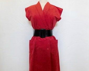 1970s Red Shirt Dress Vintage 70s Ultrasuede Day Dress - M