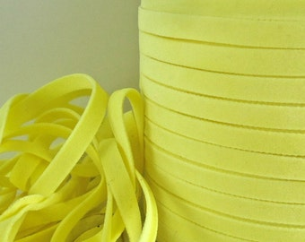 6yds Faux Suede leather Flat Micro Fiber Cord Light Yellow Flat Jewelry Cord 4mm 5mm x .5mm