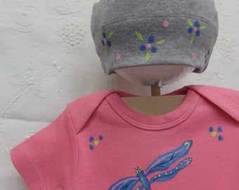 Dragonfly Organic cotton, baby bodysuit and hat set Washing Machine and Dryer Friendly, lovely pink