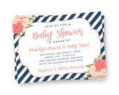 Navy and White Baby Shower Invitation - Navy Baby Shower Invite - Striped Baby Shower invitation