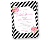 Black and White Bridal Shower Invitation, Pretty Wedding Shower Invite, Printable Bridal Shower Invitation