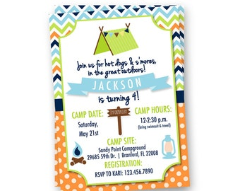 Camping Birthday Invitation, Camping Invite, Campout Invitation, Camping Party, Camping Birthday Party Invitation