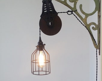 Industrial Pulley Sconce, Wall Mount Light