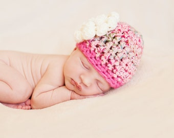 Newborn Photo Prop Girl - Handmade Newborn Hat - Newborn Crochet Hat - Unique Baby Gift