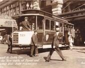 Powell St Cable Car- 1930s Vintage Photograph- Market Street Turntable- San Francisco, California- Real Photo Postcard- RPPC- Paper Ephemera