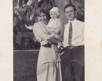 Borrowed Baby- 1910s Antique Photograph- Edwardian Couple- Public Park- Palm Trees- Found Photo- RPPC- Real Photo Postcard- Paper Ephemera