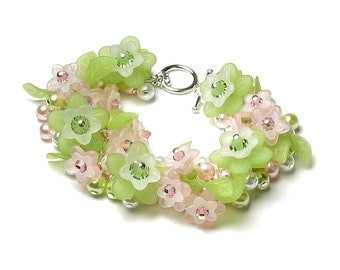 Pink & Green Flower Swarovski Crystal Pearl Cluster Silver Charm Bracelet White Acrylic Flower Jewelry Women's Romantic Spring Wedding Gifts