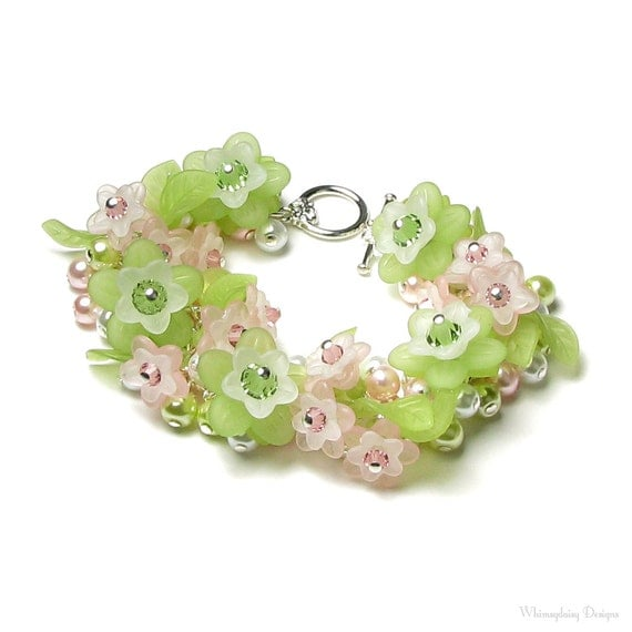 Pink & Green Flower Swarovski Crystal Pearl Cluster Silver Charm Bracelet White Acrylic Flower Jewelry Women's Romantic Spring Wedding Gifts