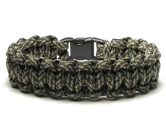 Paracord Bracelet Army Combat Uniform Digital Foliage Olive Camo Tan Survival Accessory Camouflage Hunter Outdoorsman Camping Hiker Military