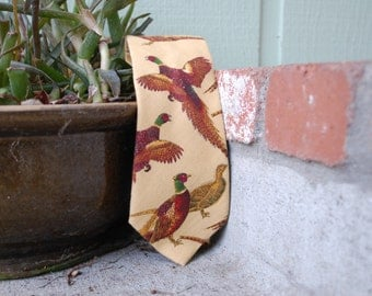 Vintage Tie Necktie Pheasant Bird Duck Hipster Woodland Tennis Golf Preppy Wedding Hunter Hunting Rustic Outdoors Dress High Fashion Spring
