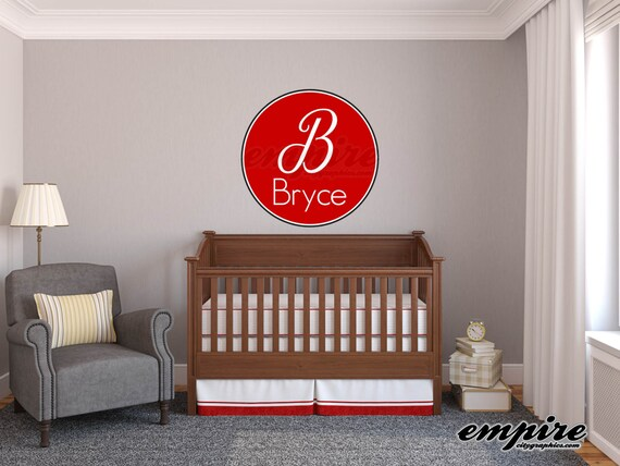Boys Name Decals, Boys Nursery decals , Girls Nursery decals, Monogram decals, Circle Decals, Printed Decals, baby nursery wall names