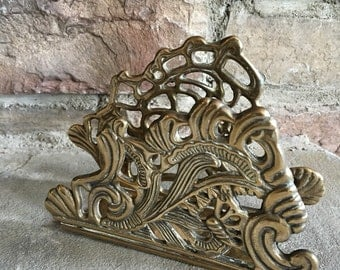 Vintage Brass Letter Holder Ornate & Decorative Metal Napkin Stand - #A1260
