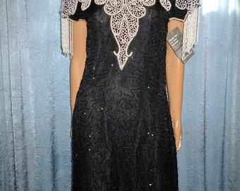 "Vintage - 80's - Scala - Black -Silk - Embellished - Beaded - NOS - with the tags - size Large - 38.5"" bust"