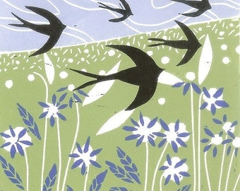 Swallow,Limited Edition Linocut Print ,Printmaking - Spring Meadow - Birds Flight - Original Print, Hand Pulled