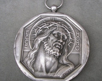 Vintage Jesus Crown of Thorns ECCE HOMO & Holy Face Religious Medal Pendant on black cord