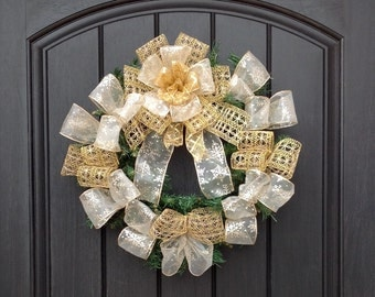 READY TO SHIP Christmas Wreath-Pine Wreath- Holiday Wreath-Cemetery-Headstone-Graveside Decor Ribbon-Gold Decoration  Indoor Outdoor Decor