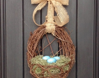 "Easter Wreath Spring Wreath Summer Wreath Grapevine Door Wreath Basket Decor...""Blue Eggs"""
