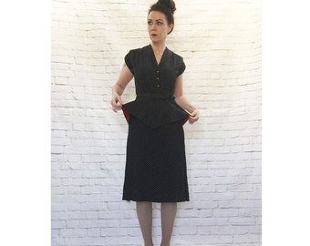 Iconic Vintage 80s Does 40s Polka Dot Peplum Dress S Black White Red Young Edwardian
